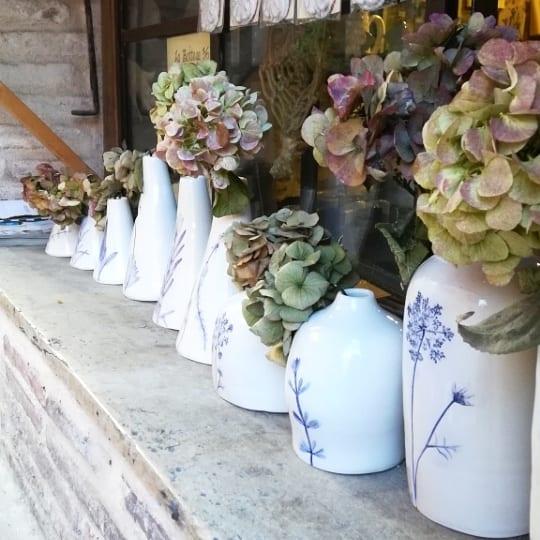 vasi in ceramica con fiori veri in blu