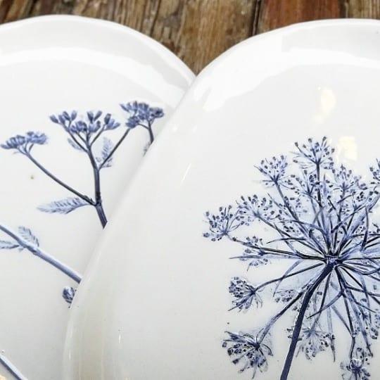 piattini ceramica botanica bianchi e blu