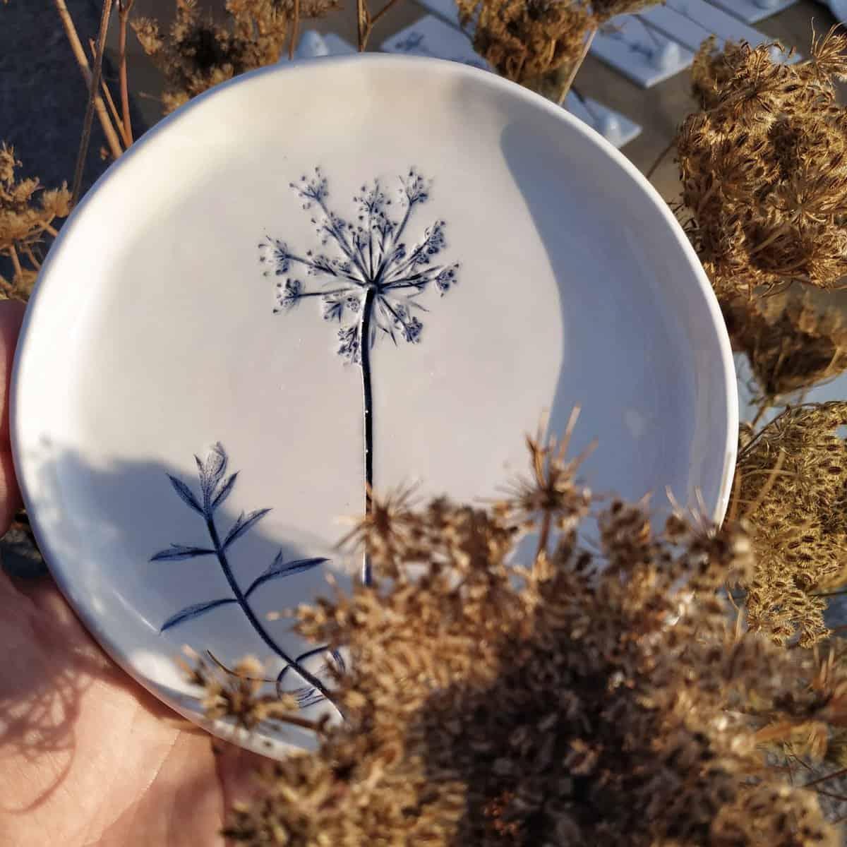 piatto ceramica botanica Erbacea LAB