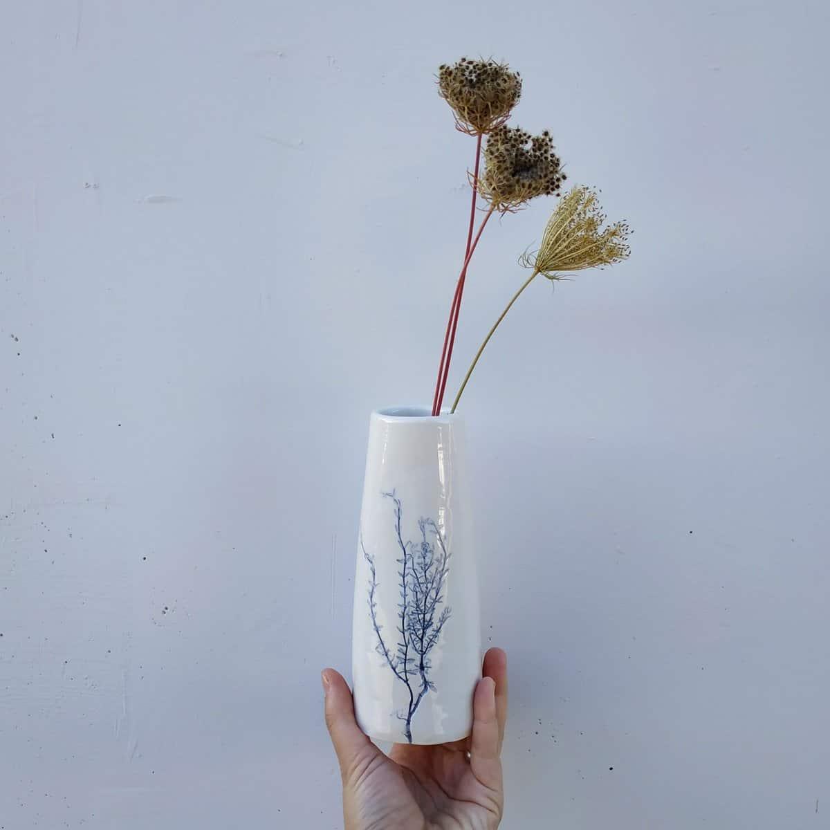vaso ceramica timo dipinto in blu