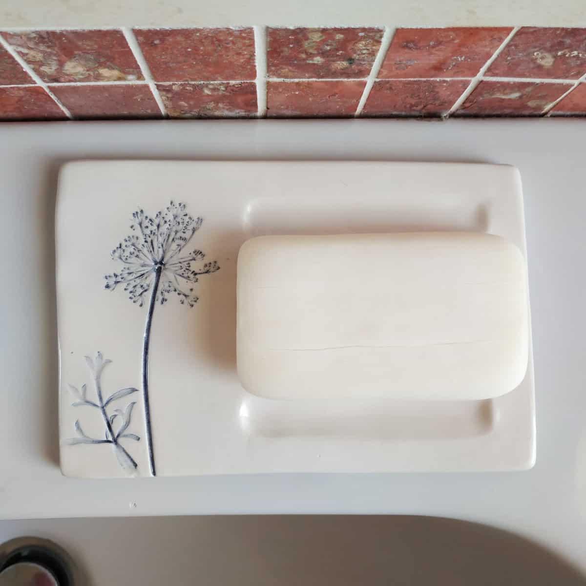 Porta sapone in ceramica con impressione di carota selvatica