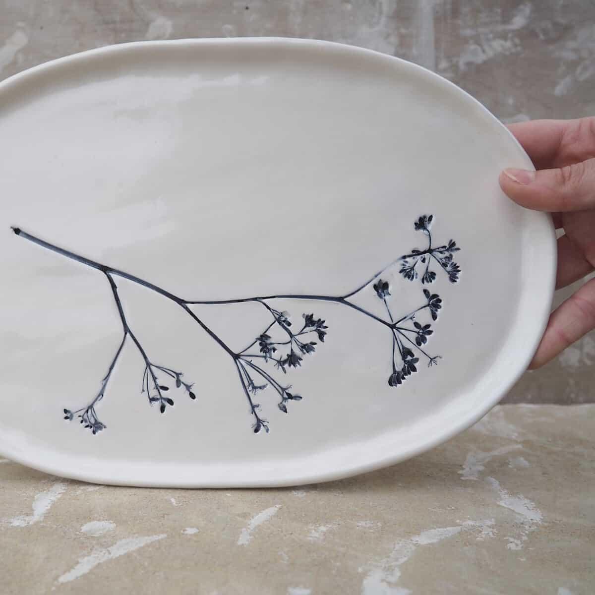 vassoio in ceramica, piatto ovale