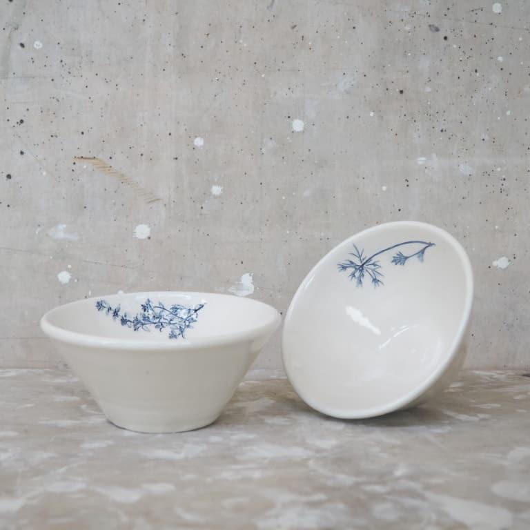 ciotole in ceramica con timo e carota selvatica